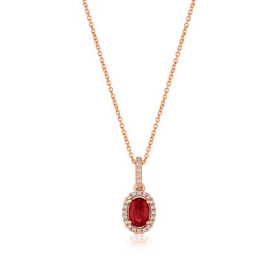 14K Strawberry Gold® Passion Ruby™ 3/8 cts. Pendant with Vanilla Diamonds® 1/10 cts. | YRGO 8