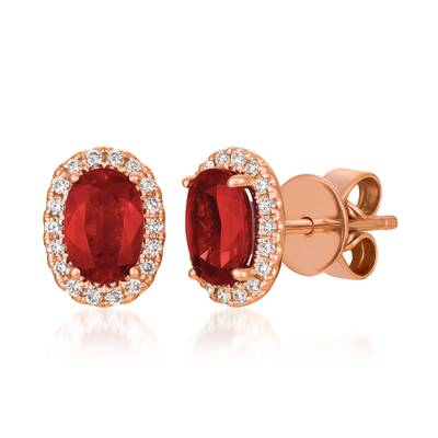 14K Strawberry Gold® Passion Ruby™ 7/8 cts. Earrings with Vanilla Diamonds® 1/8 cts. | YRGO 9