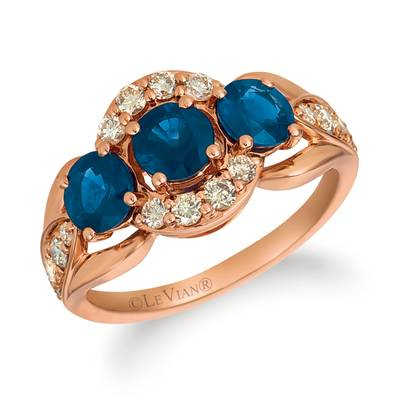 14K Strawberry Gold® Blueberry Sapphire™ 1  7/8 cts. Ring with Nude Diamonds™ 1/2 cts. | YRGU 15-070
