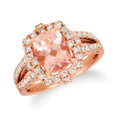 14K Strawberry Gold® Peach Morganite™ 1  5/8 cts. Ring with Nude Diamonds™ 7/8 cts. | YRGZ 22-070
