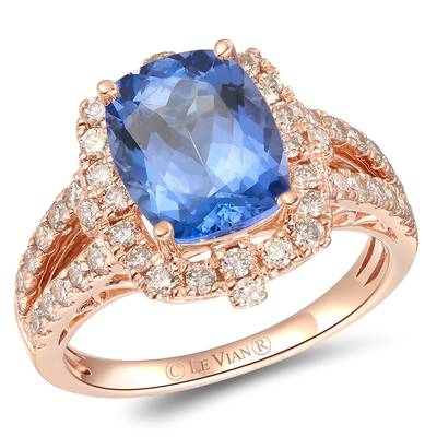 14K Strawberry Gold® Blueberry Tanzanite® 2 cts. Ring with Nude Diamonds™ 7/8 cts. | YRGZ 4