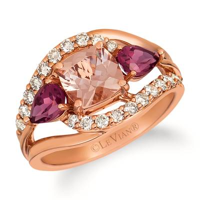 14K Strawberry Gold® Peach Morganite™ 1 cts., Raspberry Rhodolite® 7/8 cts. Ring with Nude Diamonds™ 1/2 cts. | YRHA 30