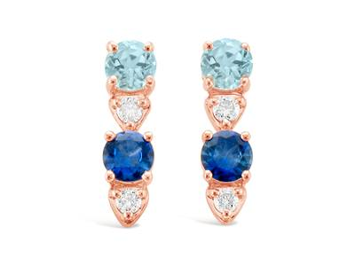 14K Strawberry Gold® Sea Blue Aquamarine® 1/2 cts., Blueberry Sapphire™ 1/2 cts. Earrings with Nude Diamonds™ 1/8 cts. | YRHH 18