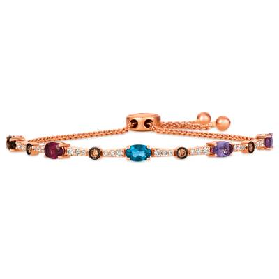 14K Strawberry Gold® Deep Sea Blue Topaz™ 1/2 cts., Bubble Gum Pink Sapphire™ 1/2 cts., Chocolate Quartz® 3/8 cts., Raspberry Rhodolite® 3/8 cts., Grape Amethyst™ 1/3 cts. Bolo Bracelet with Nude Diamonds™ 3/8 cts., Chocolate Diamonds® 1/5 cts. | YRHH 37