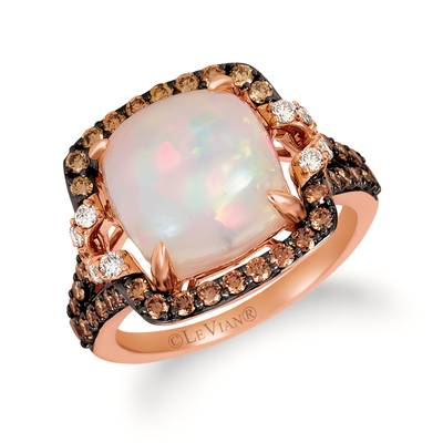 14K Strawberry Gold® Neopolitan Opal™ 3  7/8 cts. Ring with Chocolate Diamonds® 3/4 cts., Nude Diamonds™ 1/5 cts. | YRHL 1-070