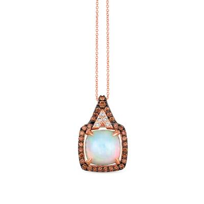 14K Strawberry Gold® Neopolitan Opal™ 3  1/3 cts. Pendant with Chocolate Diamonds® 5/8 cts., Nude Diamonds™ 1/10 cts. | YRHL 2