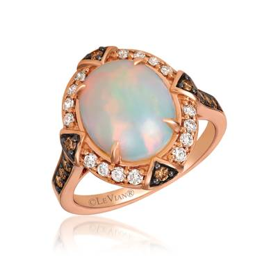 14K Strawberry Gold® Neopolitan Opal™ 2  1/5 cts. Ring with Chocolate Diamonds® 1/4 cts., Nude Diamonds™ 1/4 cts. | YRHL 8