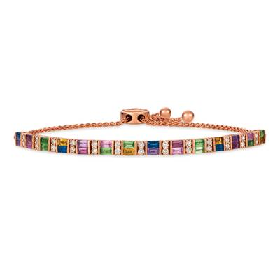 14K Strawberry Gold® Forest Green Tsavorite™ 5/8 cts., Blueberry Sapphire™ 3/8 cts., Raspberry Rhodolite® 3/8 cts., Bubble Gum Pink Sapphire™ 3/8 cts., Grape Amethyst™ 1/3 cts., Cinnamon Citrine® 1/4 cts. Bolo Bracelet with Nude Diamonds™ 5/8 cts. | YRHM 6
