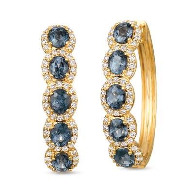 14K Honey Gold™ Gray Spinel 3  1/2 cts. Earrings with Nude Diamonds™ 1 cts. | YRHR 35