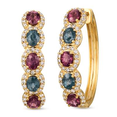 14K Honey Gold™ Gray Spinel 1  3/8 cts., Lavender Spinel 2 cts. Earrings with Nude Diamonds™ 1 cts. | YRHR 37