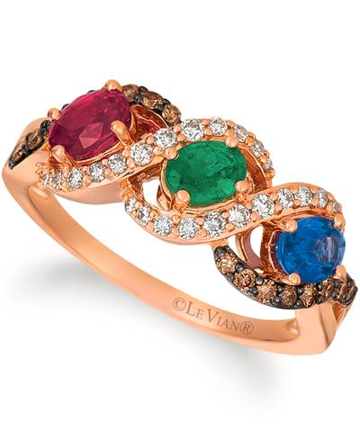 14K Strawberry Gold® Passion Ruby™ 3/8 cts., Blueberry Sapphire™ 3/8 cts., Costa Smeralda Emeralds™ 1/4 cts. Ring with Chocolate Diamonds® 1/5 cts., Nude Diamonds™ 1/4 cts. | YRHS 15