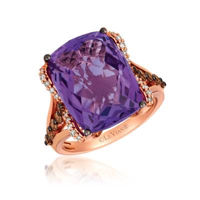 14K Strawberry Gold® Grape Amethyst™ 9  3/4 cts. Ring with Chocolate Diamonds® 1/2 cts., Vanilla Diamonds® 1/8 cts. | YRHS 31