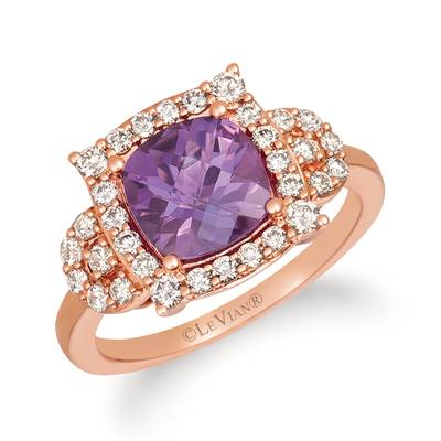 14K Strawberry Gold® Grape Amethyst™ 1  5/8 cts. Ring with Nude Diamonds™ 1/2 cts. | YRHU 1