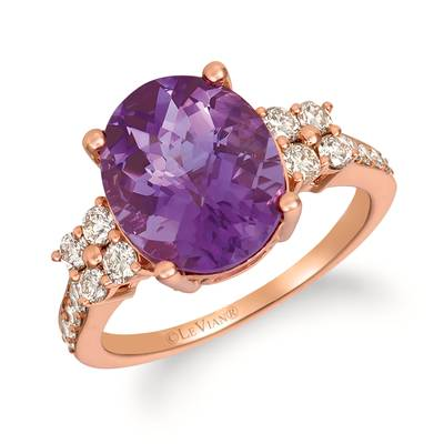 14K Strawberry Gold® Grape Amethyst™ 3  3/4 cts. Ring with Nude Diamonds™ 1/2 cts. | YRHU 8-070