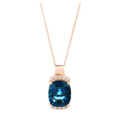 14K Strawberry Gold® Deep Sea Blue Topaz™ 5  5/8 cts. Pendant with Nude Diamonds™ 1/4 cts., Chocolate Diamonds® 1/20 cts. | YRHY 32