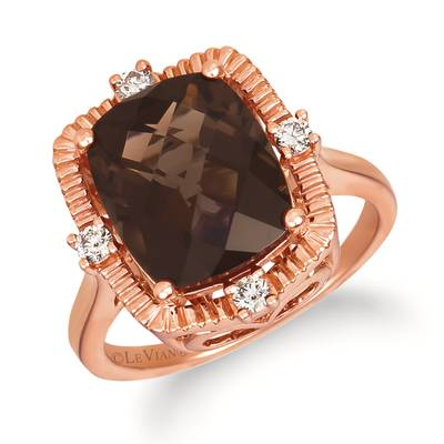 14K Strawberry Gold® Chocolate Quartz® 4  3/4 cts. Ring with Nude Diamonds™ 1/6 cts. | YRHY 64-070