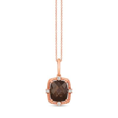 14K Strawberry Gold® Chocolate Quartz® 4  3/4 cts. Pendant with Nude Diamonds™ 1/6 cts. | YRHY 65