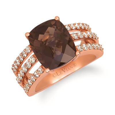 14K Strawberry Gold® Chocolate Quartz® 4  3/4 cts. Ring with Nude Diamonds™ 7/8 cts. | YRHY 69-070