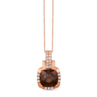 14K Strawberry Gold® Chocolate Quartz® 4  3/4 cts. Pendant with Nude Diamonds™ 3/8 cts. | YRHY 74
