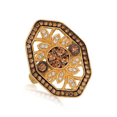 14K Honey Gold™ Ring with Chocolate Diamonds® 1 cts., Nude Diamonds™ 1/6 cts. | YRIC 45