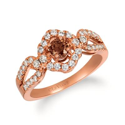 14K Strawberry Gold® Ring with Chocolate Diamonds® 1/3 cts., Nude Diamonds™ 1/3 cts., Vanilla Diamonds® 1/6 cts. | YRID 31