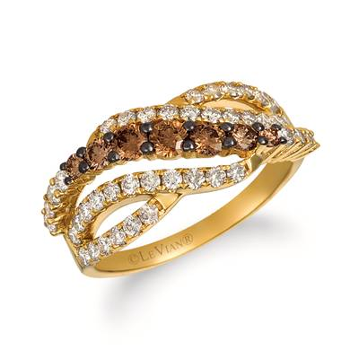 14K Honey Gold™ Ring with Chocolate Ombré Diamonds® 1/2 cts., Nude Diamonds™ 3/4 cts. | YRID 50