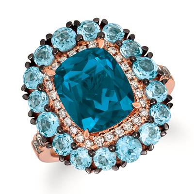 14K Strawberry Gold® Deep Sea Blue Topaz™ 4  1/4 cts., Blue Topaz 2  1/6 cts. Ring with Nude Diamonds™ 3/8 cts. | YRIF 23