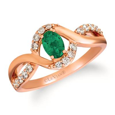 14K Strawberry Gold® Costa Smeralda Emeralds™ 3/8 cts. Ring with Nude Diamonds™ 1/4 cts. | YRIG 22