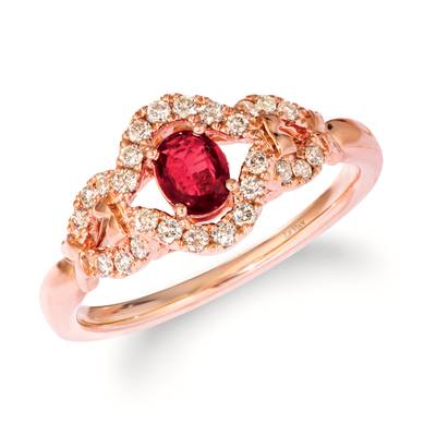 14K Strawberry Gold® Passion Ruby™ 1/3 cts. Ring with Nude Diamonds™ 1/4 cts. | YRIG 7