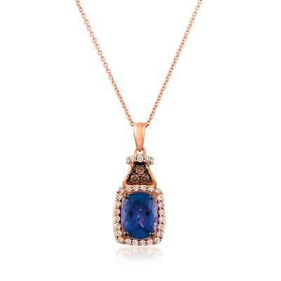 14K Strawberry Gold® Blueberry Tanzanite® 2 cts. Pendant with Chocolate Diamonds® 1/20 cts., Nude Diamonds™ 1/3 cts. | YRIL 86
