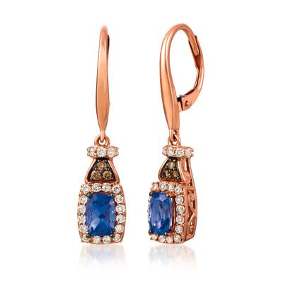 14K Strawberry Gold® Blueberry Tanzanite® 7/8 cts. Earrings with Chocolate Diamonds® 1/20 cts., Nude Diamonds™ 3/8 cts. | YRIL 87
