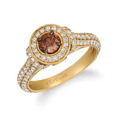 14K Honey Gold™ Ring with Chocolate Diamonds® 1/2 cts., Vanilla Diamonds® 7/8 cts. | YRIN 17