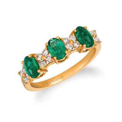 14K Honey Gold™ Costa Smeralda Emeralds™ 1 cts. Ring with Nude Diamonds™ 1/3 cts. | YRIT 9