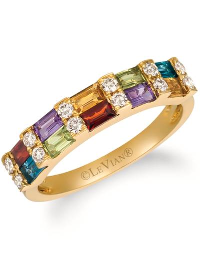 14K Honey Gold™ Deep Sea Blue Topaz™ 1/4 cts., Pomegranate Garnet™ 1/5 cts., Green Apple Peridot™ 1/5 cts., Cinnamon Citrine® 1/6 cts., Grape Amethyst™ 1/6 cts. Ring with Nude Diamonds™ 1/4 cts. | YRIV 35