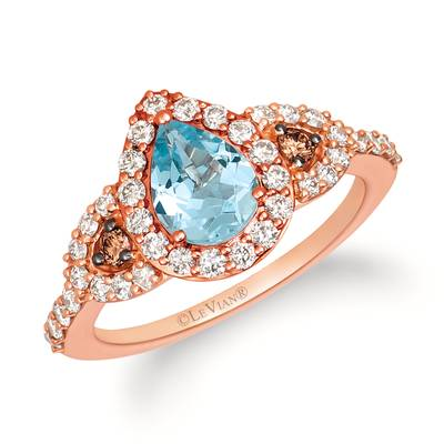 14K Strawberry Gold® Sea Blue Aquamarine® 7/8 cts. Ring with Chocolate Diamonds® 1/15 cts., Nude Diamonds™ 5/8 cts. | YRIZ 5