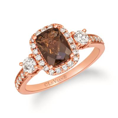14K Strawberry Gold® Chocolate Quartz® 1  1/4 cts. Ring with Nude Diamonds™ 5/8 cts. | YRJM 25