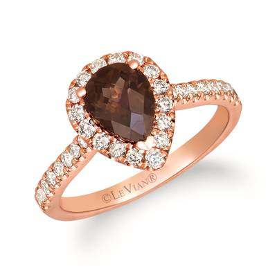 14K Strawberry Gold® Chocolate Quartz® 1 cts. Ring with Nude Diamonds™ 1/2 cts. | YRJQ 12