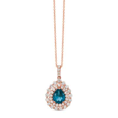 14K Strawberry Gold® Deep Sea Blue Topaz™ 1  7/8 cts. Pendant with Nude Diamonds™ 1 cts. | YRJQ 62