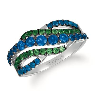 14K Vanilla Gold® Blueberry Sapphire™ 1 cts., Forest Green Tsavorite™ 1/2 cts. Ring | YRJZ 16