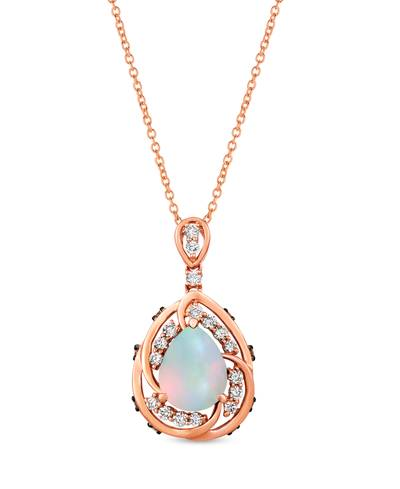 14K Strawberry Gold® Neopolitan Opal™ 1 cts. Pendant with Nude Diamonds™ 1/3 cts., Chocolate Diamonds® 1/8 cts. | YRKB 28