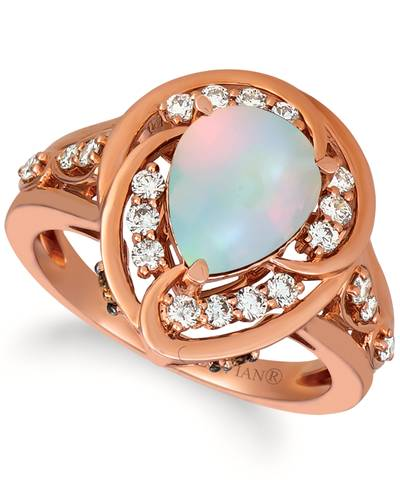 14K Strawberry Gold® Neopolitan Opal™ 1 cts. Ring with Chocolate Diamonds® 1/8 cts., Nude Diamonds™ 3/8 cts. | YRKB 29