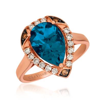 14K Strawberry Gold® Deep Sea Blue Topaz™ 3 cts. Ring with Nude Diamonds™ 1/4 cts., Chocolate Diamonds® 1/20 cts. | YRKB 33