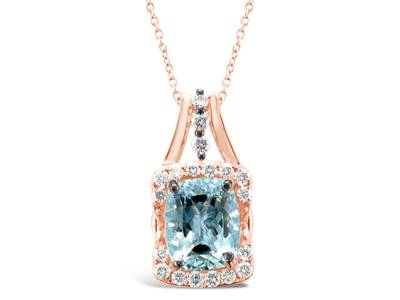 14K Strawberry Gold® Sea Blue Aquamarine® 2  1/5 cts. Pendant with Chocolate Diamonds® 1/15 cts., Nude Diamonds™ 1/3 cts. | YRKB 40