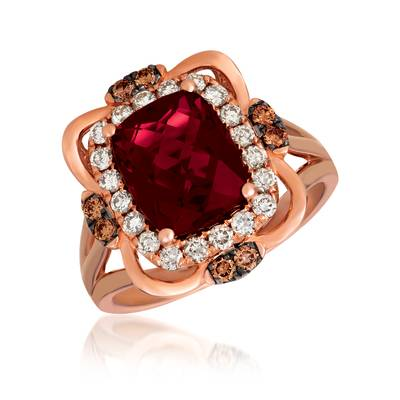 14K Strawberry Gold® Raspberry Rhodolite® 3  1/6 cts. Ring with Chocolate Diamonds® 1/5 cts., Nude Diamonds™ 1/2 cts. | YRKB 50