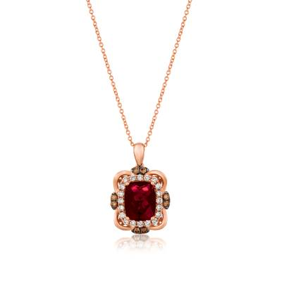 14K Strawberry Gold® Raspberry Rhodolite® 3  1/6 cts. Pendant with Chocolate Diamonds® 1/5 cts., Nude Diamonds™ 1/2 cts. | YRKB 51