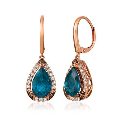 14K Strawberry Gold® Deep Sea Blue Topaz™ 4 cts. Earrings with Chocolate Diamonds® 1/10 cts., Nude Diamonds™ 3/8 cts. | YRKB 55