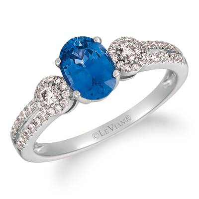 14K Vanilla Gold® Cornflower Ceylon Sapphire™ 3/4 cts. Ring with Vanilla Diamonds® 1/4 cts. | YRKH 17