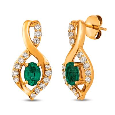 14K Honey Gold™ Costa Smeralda Emeralds™ 7/8 cts. Earrings with Nude Diamonds™ 1/2 cts. | YRKH 4