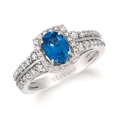 14K Vanilla Gold® Cornflower Ceylon Sapphire™ 3/4 cts. Ring with Vanilla Diamonds® 1/2 cts. | YRKH 40