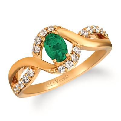 14K Honey Gold™ Costa Smeralda Emeralds™ 3/8 cts. Ring with Nude Diamonds™ 1/4 cts. | YRKH 5